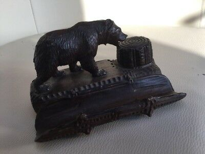 Antique Black Forest Craftsman Carved Brown Bear Inkwell Pen Rest  c1900