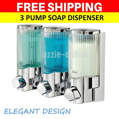 Triple Shower Soap Dispenser Shampoo Conditioner Bathroom Wall Pump Motel Hotel