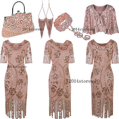 1920s Roaring Gatsby Flapper Beads Formal Evening Wedding Party Cocktail Dresses