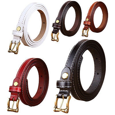 Women's Classic Metal Buckle Handcrafted Genuine Leather Skinny Belt