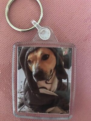 PERSONALISE YOUR PHOTO DOUBLE SIDED 45x35 KEYRING GIFTS - PETS - GRANDKIDS