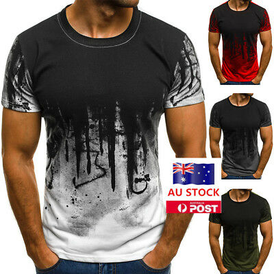 Mens Summer Muscle Short Sleeve O Neck T-shirt Gym Tee Casual Slim Tops Blouse