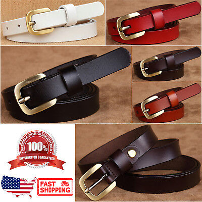 Women's Classic Gold Color Metal Buckle Handcrafted Genuine Leather Skinny Belt