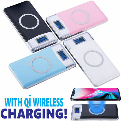 50000mAh Power Bank Qi Wireless Charging 2 USB LCD LED Portable Battery Charger