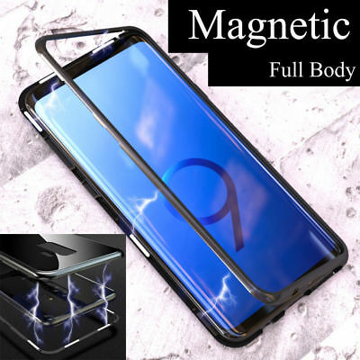 Magnetic Adsorption Metal Bumper Glass Phone Case For Samsung S10 Plus S9 S8 M20