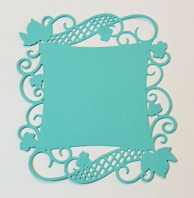 16 Purple & Turquoise Spellbinders Curved Square Vine Flourish Die Cuts Toppers