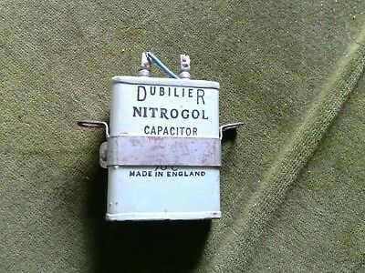 Dubilier Nitrogol Capacitor 1uF 600V DC Tested WITH MOUNTING CLIP