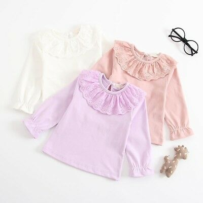 Toddler Kid Baby Girl Long Sleeve Cotton Tops Doll Collar T Shirt Blouse Outfits