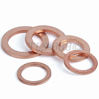 Copper Sealing Gasket Flat Ring Washers M5,6,8,10,12,14,16,18,20,24,30,45,48mm