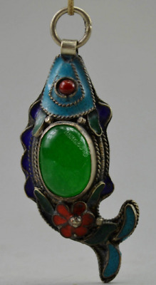 China Collectible Old Tibet Silver & Jade Cloisonne Carve Fish Flower Pendant