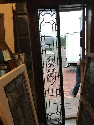 SG 2455 antique Stainglass textured beveled transom window 15.5 x 85.5