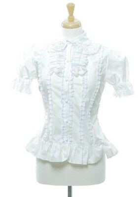 Victorian White High Neck SS Lace Ruffled Blouse Top Costume Kwaii Costume Small