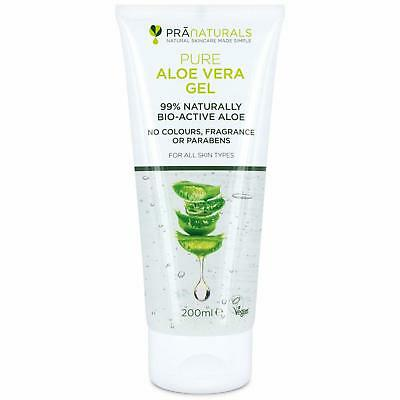 PraNaturals Pure Aloe Vera Gel 200ml Body Skin Care Nature Plant Moisturiser New