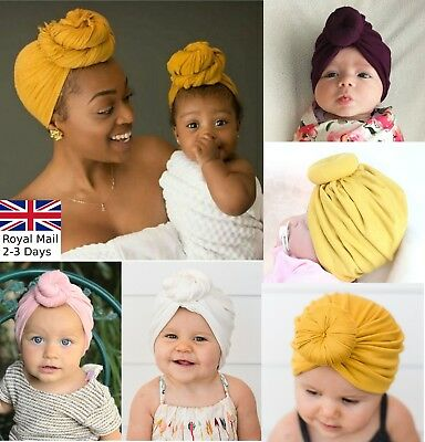 Baby Girls Women Bun Knot Turban Head Wrap Cute Kids Ear Hat Cotton Cap