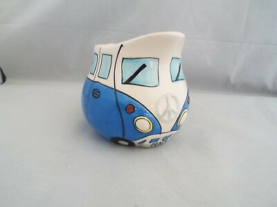 Novelty Ceramic Blue Camper Van Milk Jug