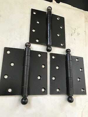 """3 LARGE ANTIQUE PITTED FINISH STEEL ENTRANCE DOOR BALL TOP TIP PIN 4 x 4"""" HINGES"""