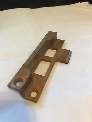 "Rare Brass Bronze 4 5/8"" Door Jamb Mortise Lock Offset Strike Plate Keeper Catch"