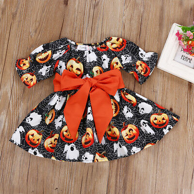 S-313 Toddler Halloween Orange Bowknot Pumpkin Dress Size 2-6T(Free Shipping)