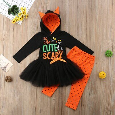 Toddler Girl's Halloween Cat Cute and Scary 2 pcs Size 12M-5T (Free Shipping)