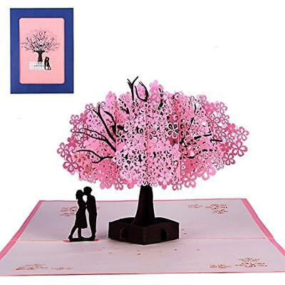 3D Pop Up Handmade Cherry Blossom Greeting Cards Romantic For Girl's Birthday,