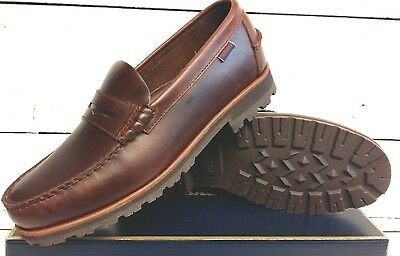 Men's Sebago Vershire Penny Brown Oiled Waxy Leather Slip On Loafer Shoes Size