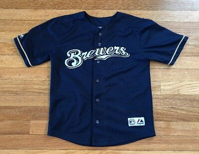 Majestic Rickie Weeks #23 Milwaukee Brewers Youth Sz Small 10/12 Sewn Jersey MLB