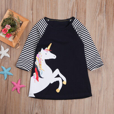S-158N Toddler Girl Navy Unicorn Dress (Ready to Ship from Ohio)(Free Shipping)