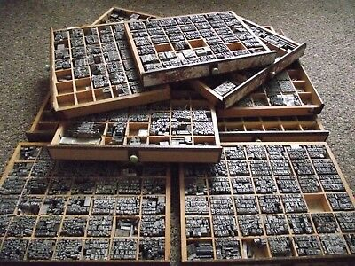 Hot Foil printing machine letterpress Number Letter Stamps Box 12 Wooden Tray №2