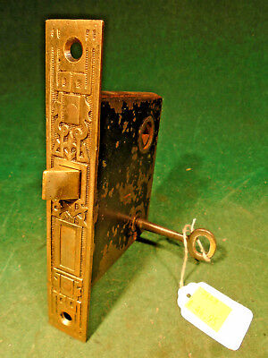 "VINTAGE EASTLAKE MORTISE LOCK w/KEY VERY NICE BRASS FACEPLATE 5 7/16""  (7643)"