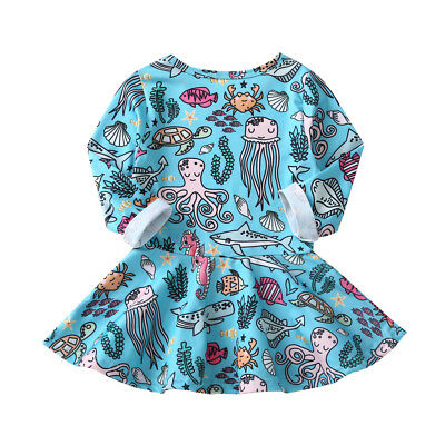 Toddler Baby Girl's Blue Sea Life Dress Long Sleeve Size 1-6T (Free Shipping)