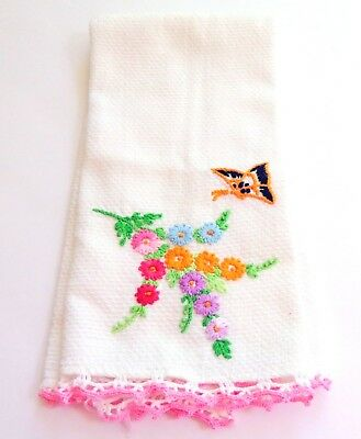 Vtg Linen Huck White Hand Embroidered  Hand Dish Towel Pink Crochet Edges 20x14""