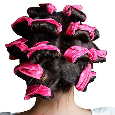 6Pcs Women Natural Hair Curler Spongy Roll Home DIY Fast Hair Styling Tools Pink