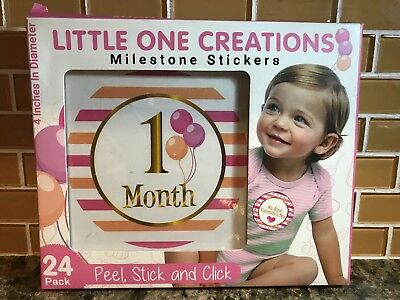 Little One Creations - Baby Girl Monthly Milestone Stickers - Set of 24 - New