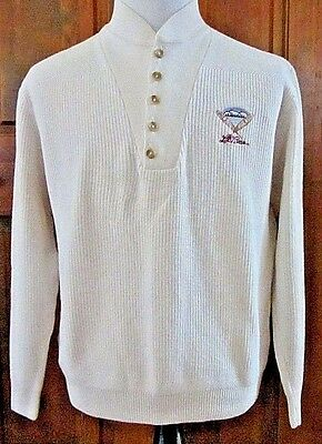 Ll Bean Mens L Cream Embroidered Snow Shoe L/s Henley Mock Collar Sweater Usa!