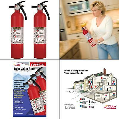 Set of 2 Recreational Fire Extinguisher 1-A:10-B:C Common Fires Home Safety Fire