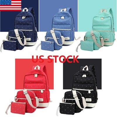 US Stock Backpack Women Canvas Travel Bookbags School Bags for Teenage Girls T