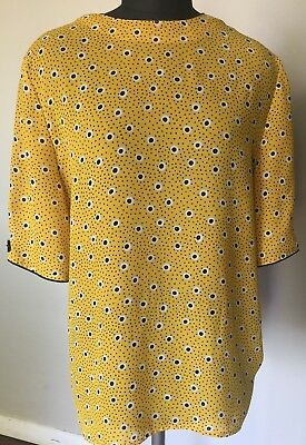 Vintage Canary Yellow Polkadot Blouse Shirt Top Womens 10 Large Leslie Fay 80s