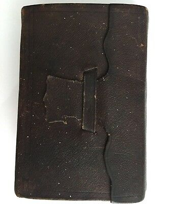 Antique Pre-Civil War Small Travel Bible 1857 leather clasp Old & New Testaments