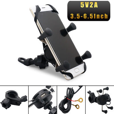 X-Grip RAM Motorcycle Bike Car Mount Cellphone Holder USB Charger For Phone IDI