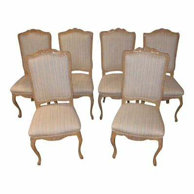 Set of Six Vintage Carved Country French Style Dining Chairs