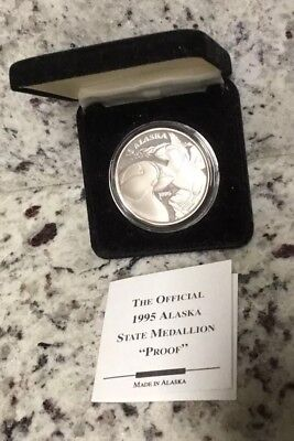 1995 Alaska Mint The Official State Proof Medallion Coin Puffins 1oz .999 Silver