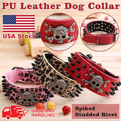 Skull Metal Studded Spiked Rivet Large Dog Collar  PU Leather Collar Shepherd