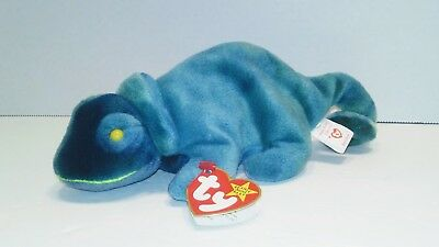 Ty Beanie Baby Rainbow the Chameleon RARE with Tag Errors and Iggy Fabric