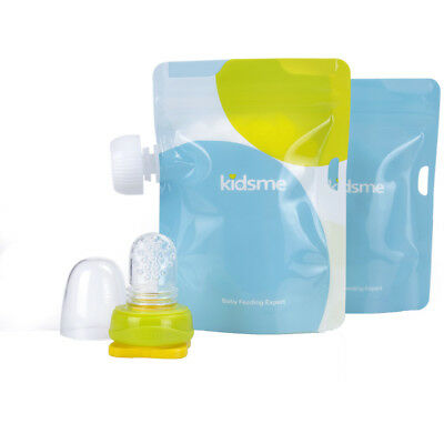 Kidsme Reusable Food Pouch with Adaptor Set 2 Pack - Lime