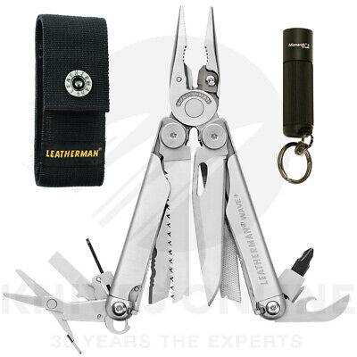 2018 LEATHERMAN WAVE PLUS + STAINLESS MULTITOOL + TORCH + Swiss Card Lite Red