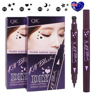 Winged Stamp Eyeliner Waterproof Makeup Cosmetic Eye Liner Pencil Black Liquid