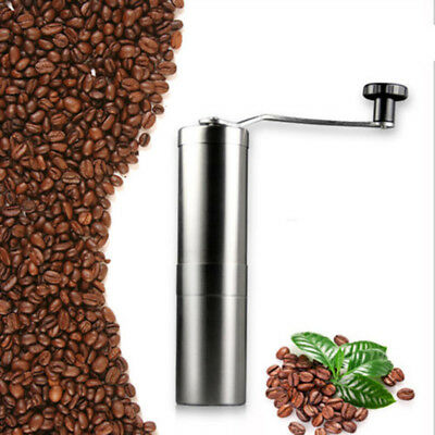 Manual Coffee Grinder, Heavy Duty Conical Burr Mill, Brushed Stainless Steel.