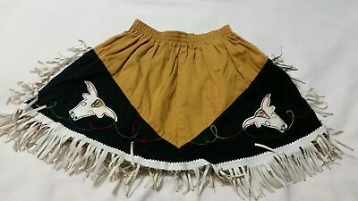 Child's WESTERN COWGIRL SKIRT Vintage Elastic Waist Brown Black White Sz S
