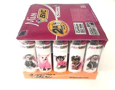 50 Genuine BIC MISS Lighter Cigarette Cigar Tobacco Puppy Dog Hot Pink