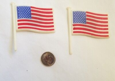 Vtg Arjon Refrigerator Magnets 2 American Flags Patriotic 4th Of July Very Rare